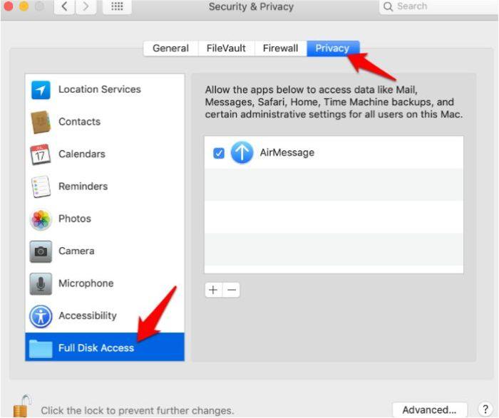 Obtenga Imessage Dispositivo Android Privacidad de Airmessage Acceso completo al disco