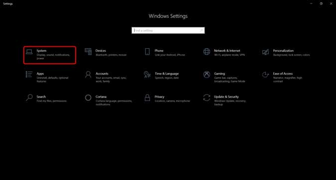 Botón del sistema en la página de configuración