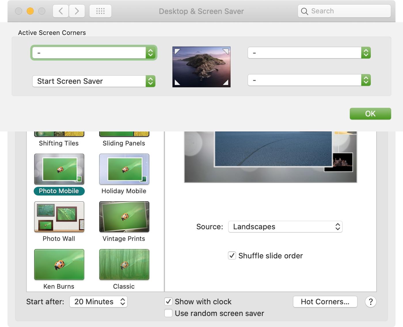 Configuración del sistema Protector de pantalla Seleccione la esquina activa