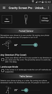 Pantalla de gravedad: pantalla de encendido / apagado