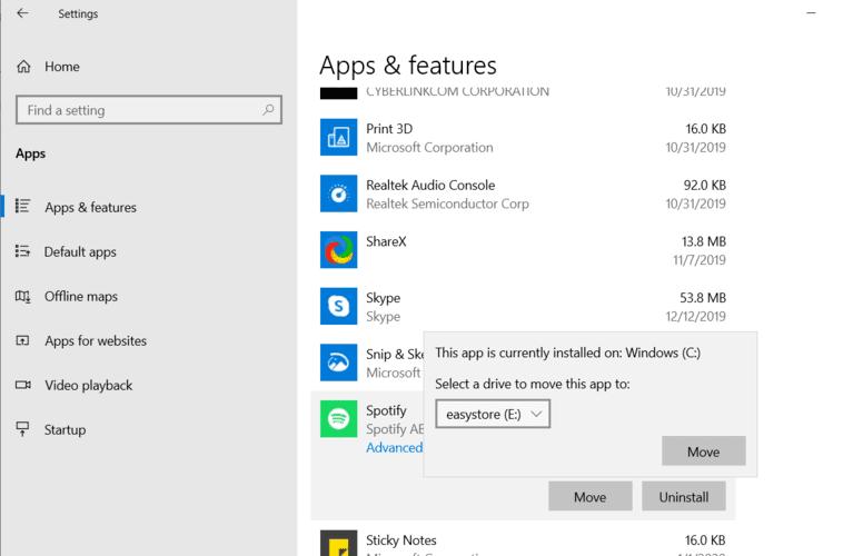 Mover Windows Aplicaciones Aplicaciones Configuración Seleccione Drive