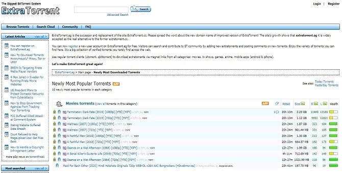 """Extratorrent-2""""width ="""" 670 """"height ="""" 340 """"srcset ="""" https://thetechsutra.com/wp-content/uploads/2020/02/Extratorrent-2.jpg 670w, https://thetechsutra.com/wp-content/uploads/2020/02/Extratorrent-2-300x152.jpg 300w """"tamaños ="""" (ancho máximo: 670px) 100vw, 670px """"/></p> <p>Este sitio ha tenido una presencia constante con un grupo dedicado de usuarios que proporcionan contenido nuevo. ExtraTorrent es uno de los sitios populares de distribución de torrents que ofrece una increíble cantidad de contenido, como software, videos de entretenimiento, aplicaciones, etc.</p> <p>El directorio y el motor de búsqueda fáciles de usar permiten a los usuarios buscar todo tipo de archivos torrent.</p> <p>Incluso si el sitio original de ExtraTorrent no está disponible, puede consultar las opciones de ExtraTorrent aquí.</p> <li> <h3><strong>EZTV</strong></h3> </li> <p><img class="""