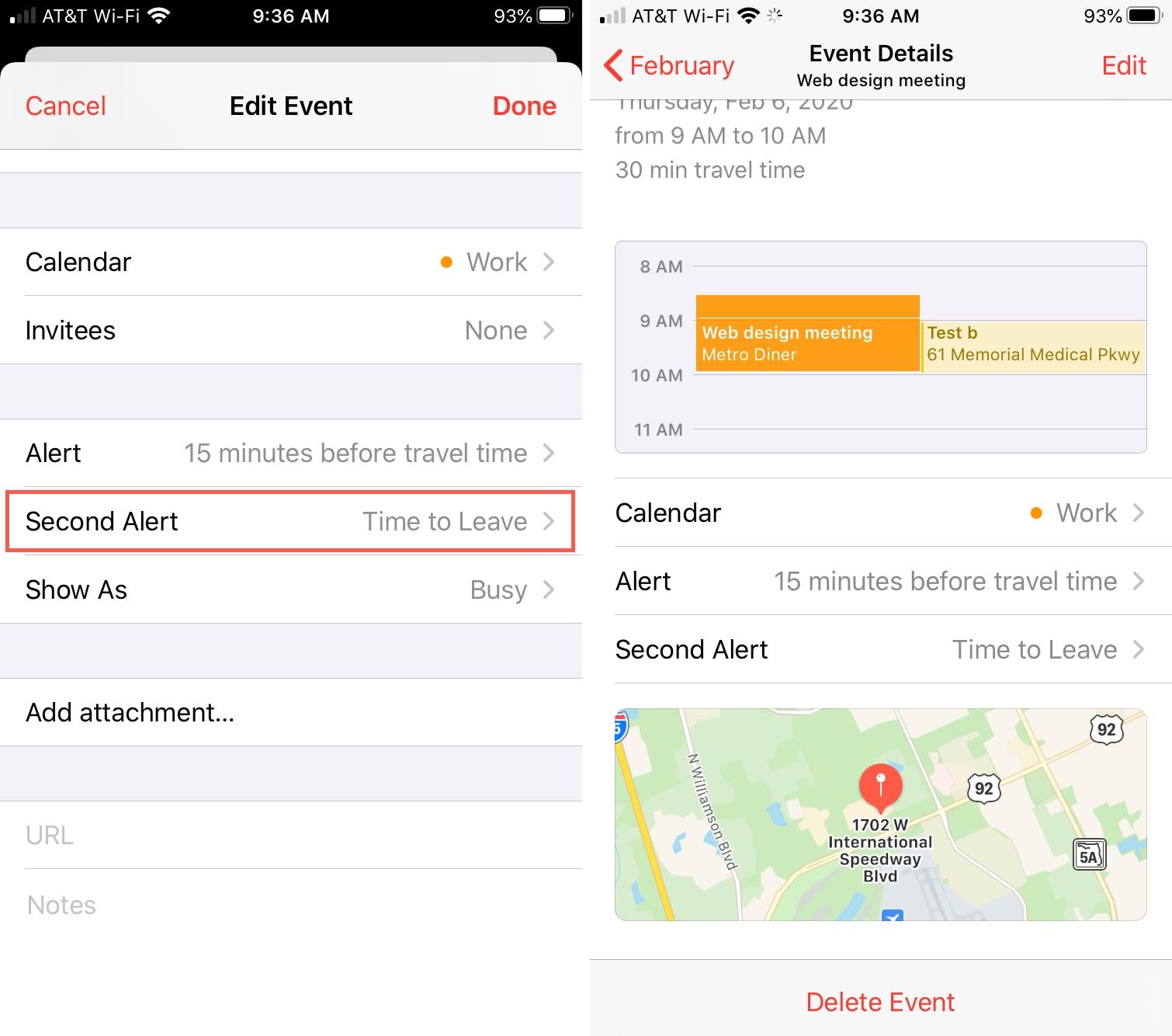 iPhone Calendario Hora de dejar alerta