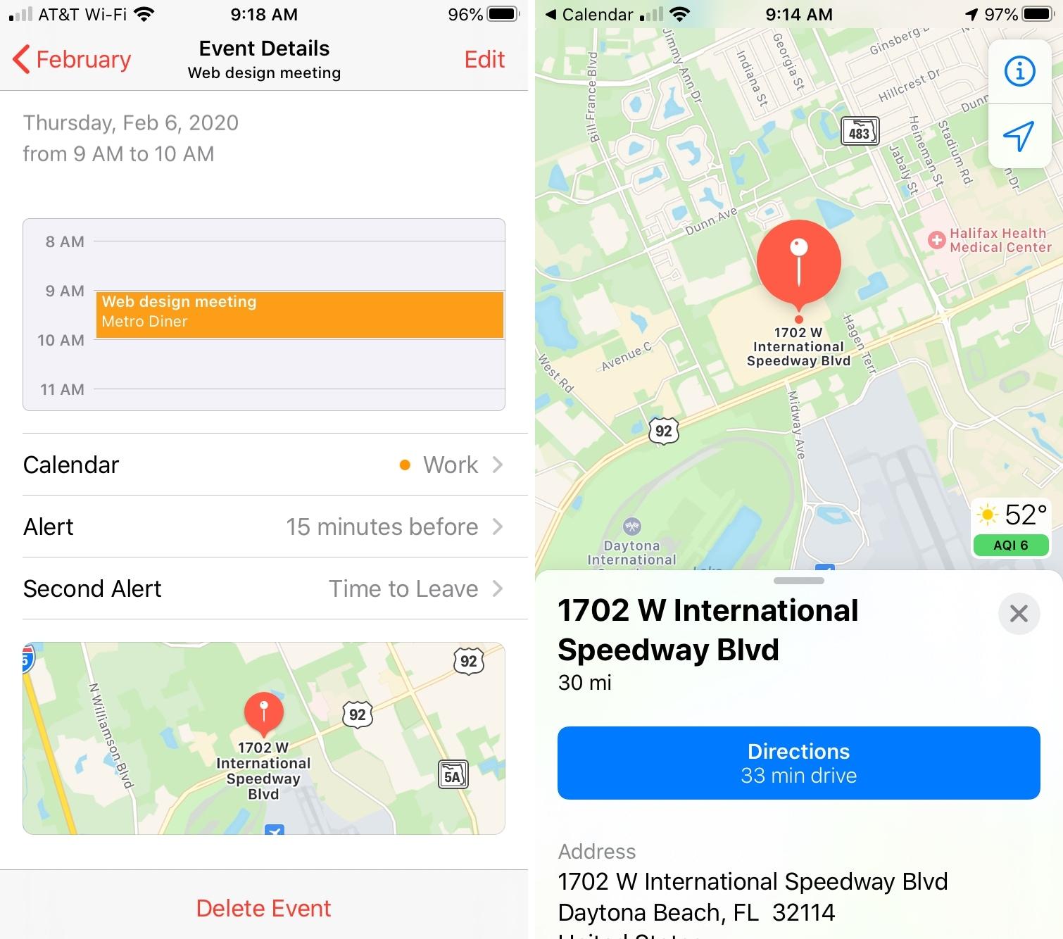 Calendario de iPhone con lugar en el mapa