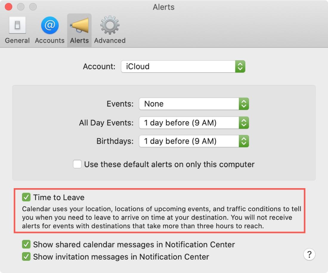 Tiempo de calendario de Mac para dejar alerta