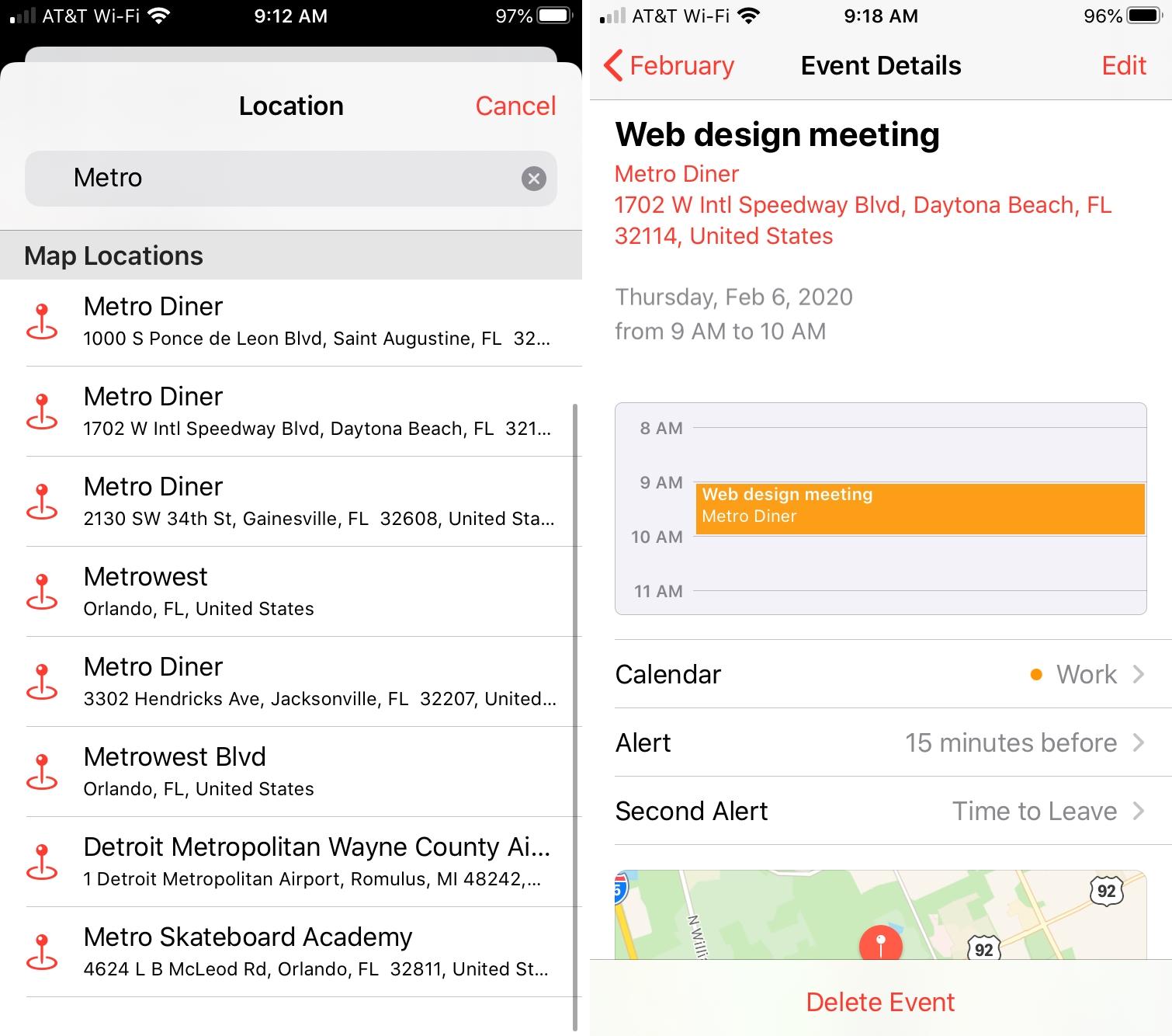 Calendario de iPhone Seleccionar ubicación
