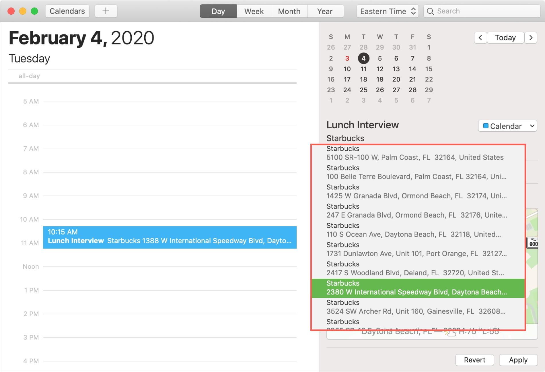 Calendario Mac Seleccione ubicación
