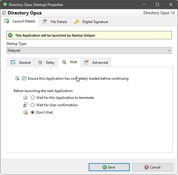 Retraso de inicio Optimizar información de inicio de sesión Detalles Esperar