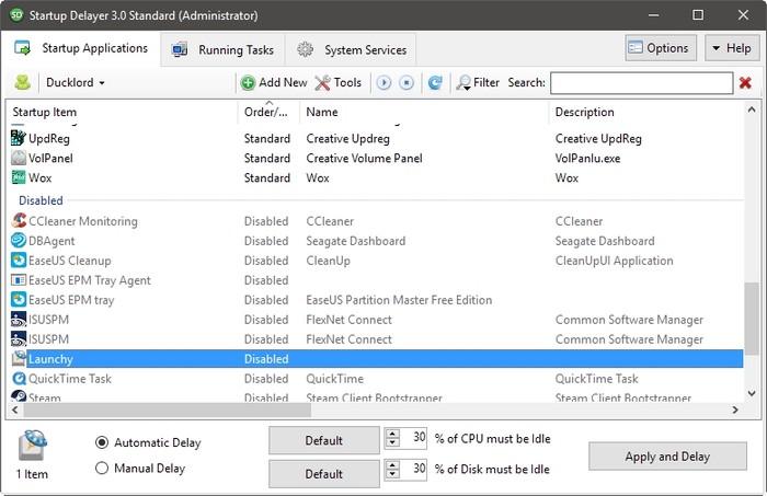Startup Delayer Optimizar lista de inicio de sesión deshabilitado