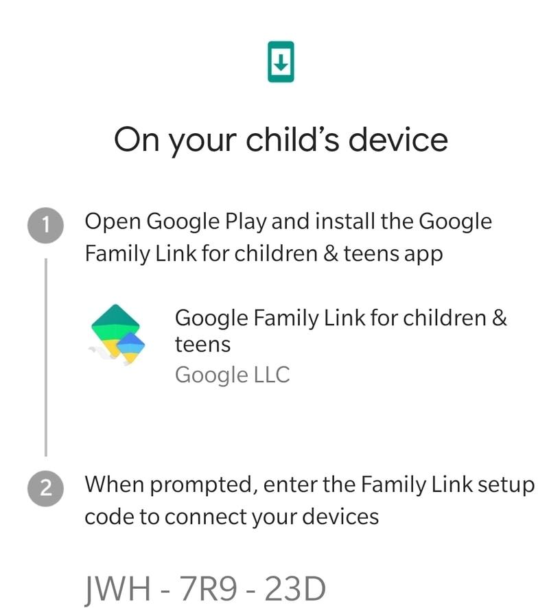 Código de enlace familiar de Google