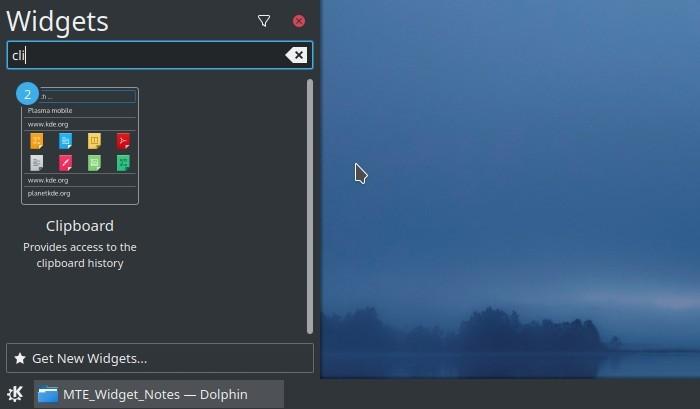 Kde Clipboard Widget Txt Notes panel de widgets