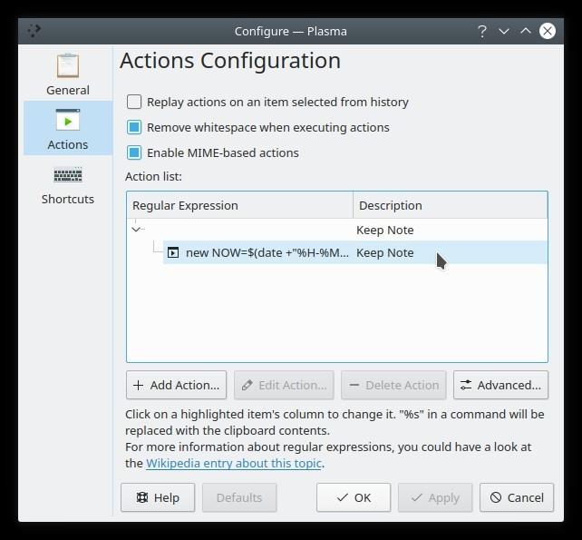 Configuración de Kde Clipboard Widget Txt Notes Acción Configuración