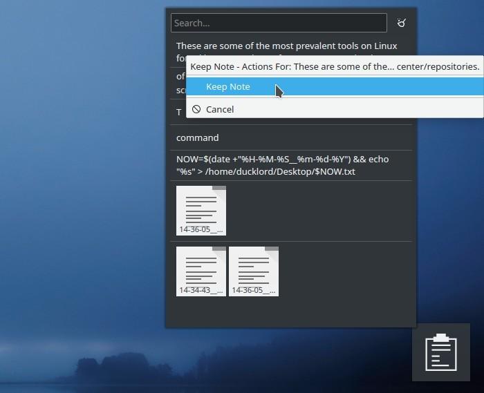 Kde Clipboard Widget Txt Notes Acción del usuario