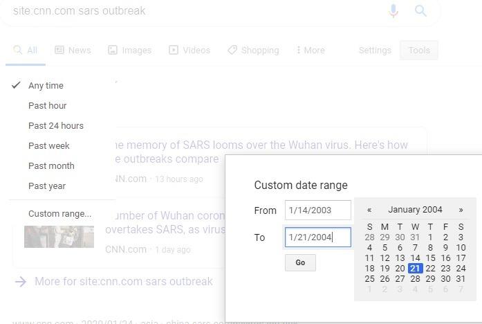 Resultados de búsqueda de fecha de sitio específicos de Google