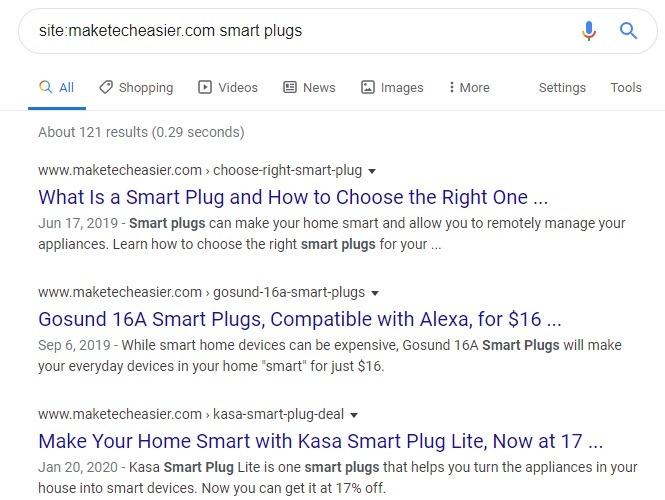 Resultados de palabras clave simples del sitio específico de Google