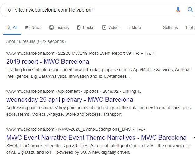 Resultados específicos del tipo de archivo del sitio de Google