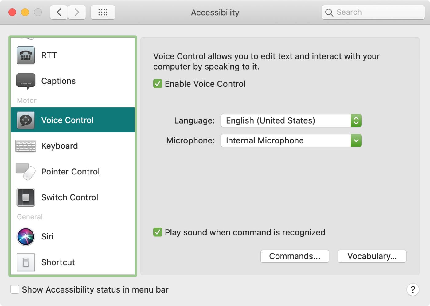 Configuración de control por voz Comandos Mac Vocabulario