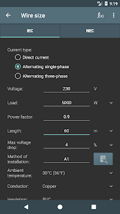 Captura de pantalla de cálculos eléctricos.