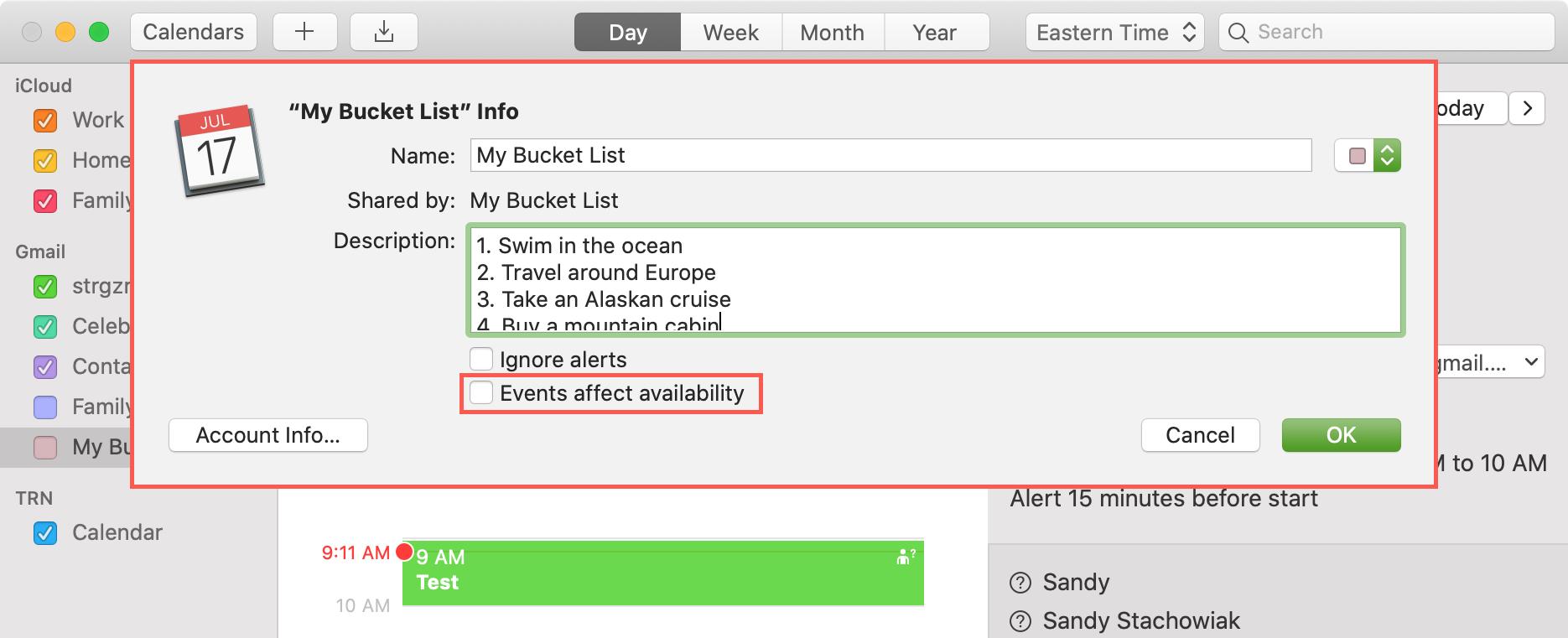Los eventos afectan el cuadro de accesibilidad Calendar Mac