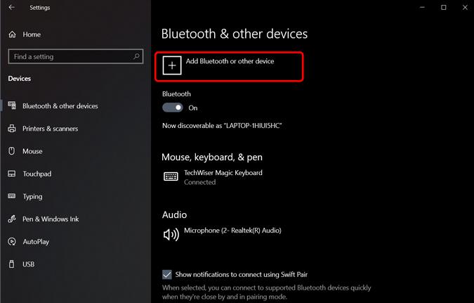 agregue un dispositivo Bluetooth haciendo clic en el botón más