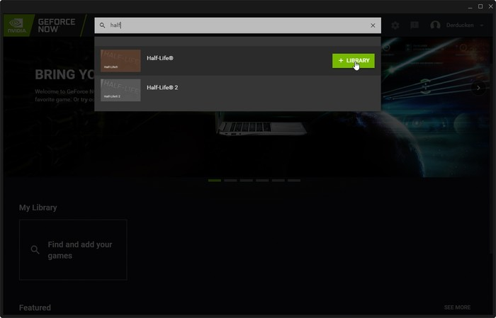 Barra de búsqueda de cliente de transmisión de juegos Geforce Now