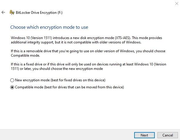Cifrar unidad USB Windows Modo de cifrado de 10 unidades Bitlocker