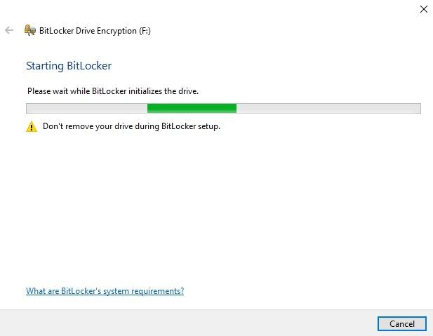 Cifrar unidad USB Windows 10 Drive Manage Bitlocker Setup
