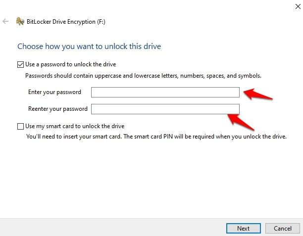 Cifrar unidad USB Windows 10 Usar contraseña Desbloquear unidad Ingresar contraseña