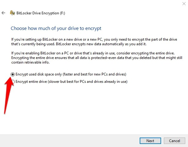 Cifrar unidad USB Windows 10 Drive Managing Bitlocker Haz clic derecho Activar