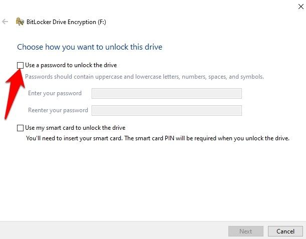 Cifrar unidad USB Windows 10 Use la contraseña para desbloquear el dispositivo
