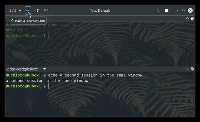 Terminal actualizado con el botón Tilix New Session