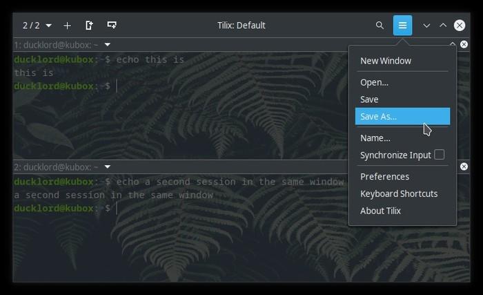 Terminal actualizado con Tilix Guardar sesión como