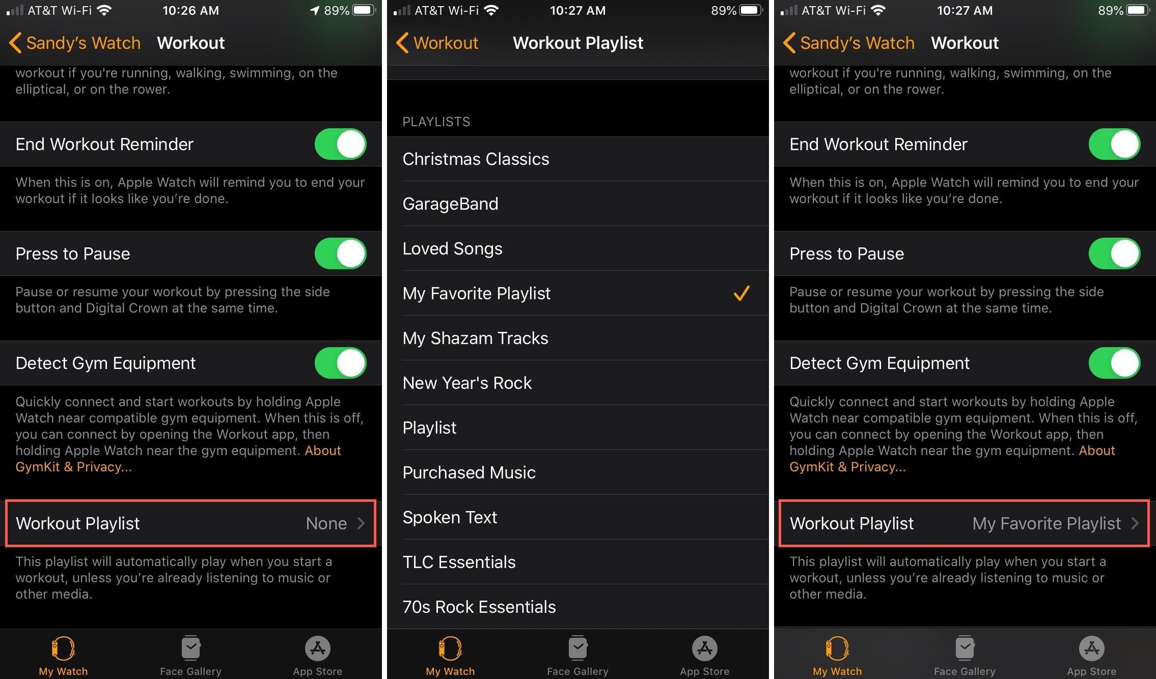 Agregar lista de reproducción de ejercicios a Apple Watch