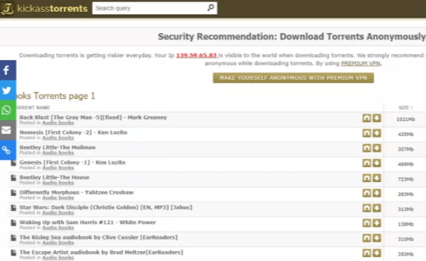 Torrents Kickass para e-book