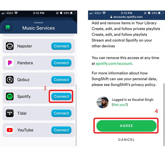 conecta la cuenta de spotify para descargar la información de la lista de reproducción