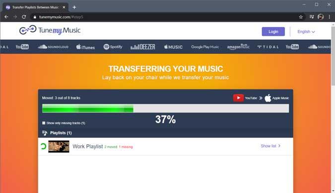 copiar progreso - Cargar lista de reproducción de Spotify a Apple música