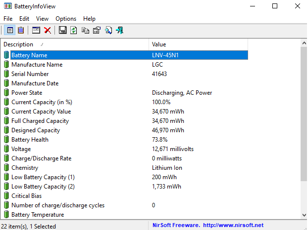BatteryInfoView: compruebe el estado de la batería en Windows y Android
