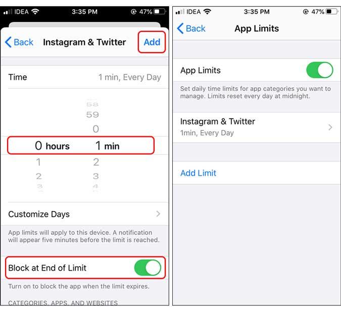 bloquear al final del límite de tiempo establecido en un minuto - bloquear aplicación en iphone