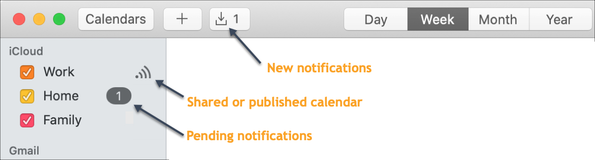 Notificaciones de Calendar Mac compartidas