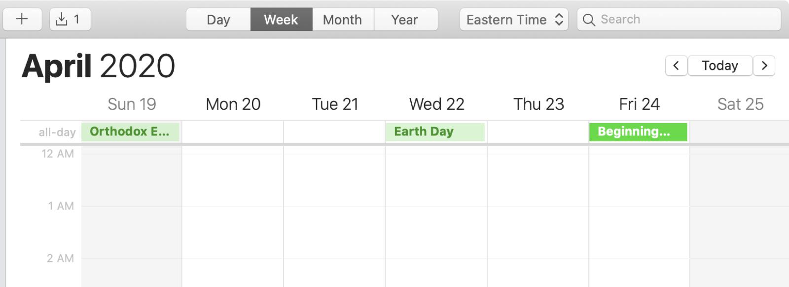 Calendario de eventos Mac todo el día