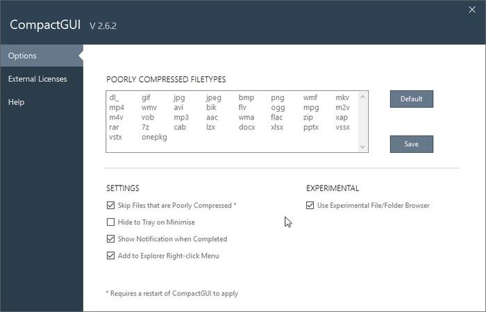 Extienda HDD con las opciones de Compactgui