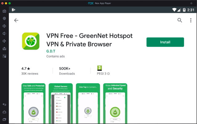 GreenNet-VPN-descarga-para-pc-con-nox aplicación reproductor