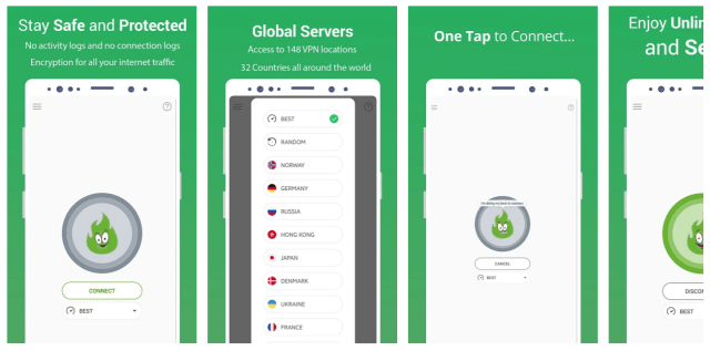 GreenNet-VPN pantallas de Android APK