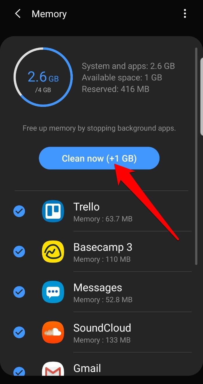 Detener Aplicaciones en segundo plano Configuración de Android Cuidado del dispositivo Memoria Limpiar ahora