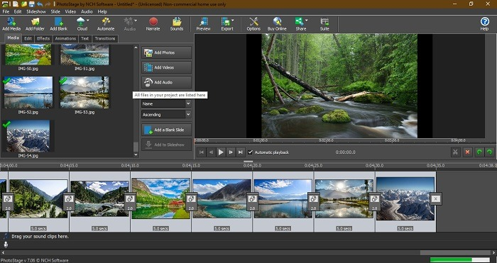 Ver presentaciones de diapositivas Windows 10 Photostage por Nch Software
