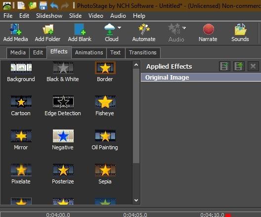 Ver presentaciones de diapositivas Windows 10 Phototage by Nch Software Efectos adicionales