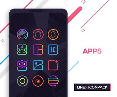 Captura de pantalla del paquete de iconos LineX