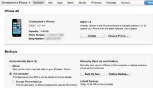 Update-iPhone-iPad-a través de iTunes software