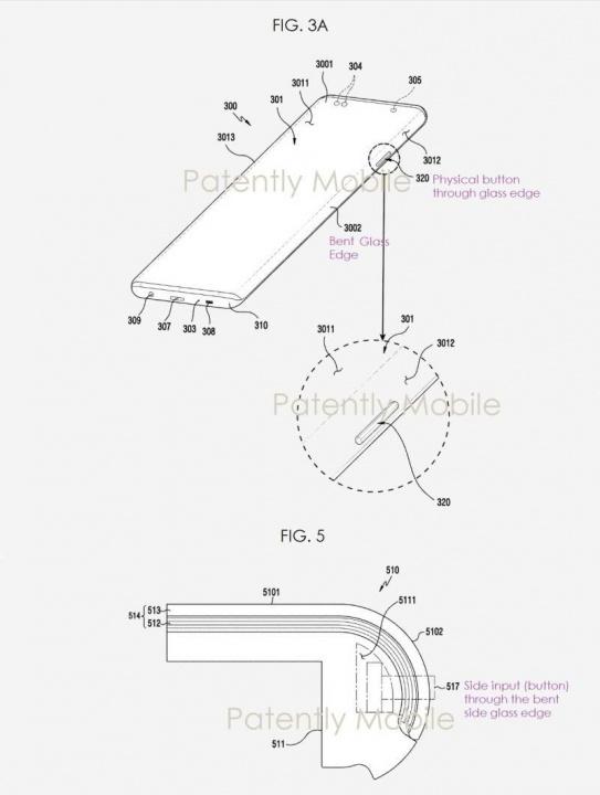 """Patente de pantalla """"cascada"""" registrada por Samsung."""