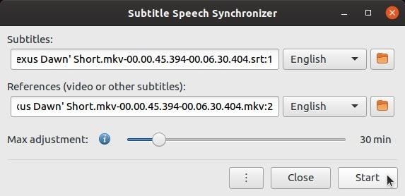 Comienzan los subtítulos de autofix con subsync